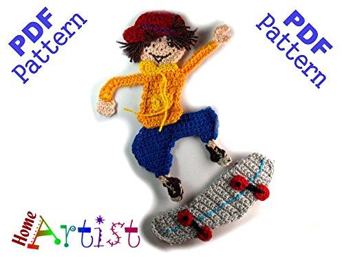 Skateboarder Crochet Applique Pattern (English Edition)