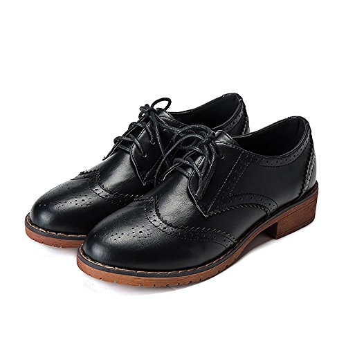 Womens Brogue Wingtip Perforated Oxfords Round Toe Lace-up Leather Platform Flat Shoes