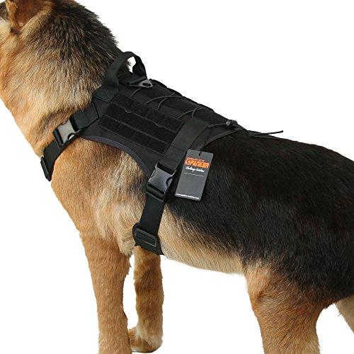 EXCELLENT ELITE SPANKER Tactical Dog Harness Military Dog Harness Working Dog Vest Molle Adjustable Training Vest Patrol K9 Harness Large with Handle(Black-L)