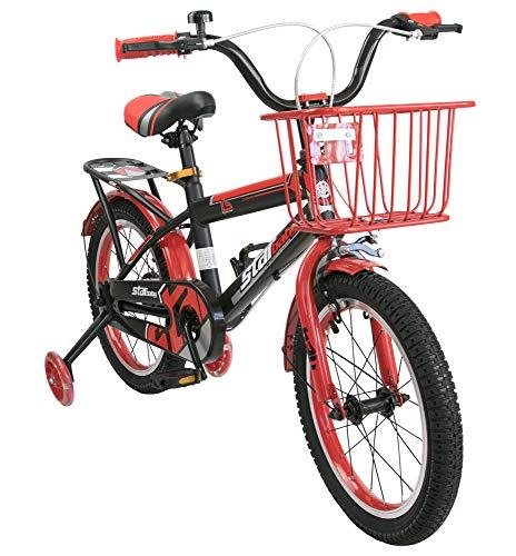 Airel Bicicletas Infantiles para Niños y Niñas | Bici con Ruedines y Cesta | Bicicletas 16 y 18 Pulgadas | Bicicletas niños 4-7 años | Color: Rojo-Rojo Pulgadas: 18