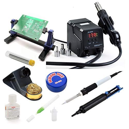 Hot Air Hetelucht-lasstation, professionele temperatuur, instelbaar, 500 graden Celsius, vermogen 300 W, soldeerbout, soldeerbout, pasta, standaard, PCB-pomp, vijverzuiger