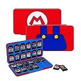 JINGDU Estuche de Tarjetas de Juego para Nintendo Switch, Caja de Almacenamiento de Juegos Duradera y portátil de 48 Ranuras (Mario)