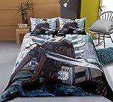Tres piezas de funda de edredón for el ataque en Titán Levi / Rivaille / Rival Ackerman posición sentada, animado 3D edredón almohada, 100% poliéster, suave y cómodo, ropa de cama de Otaku del animado