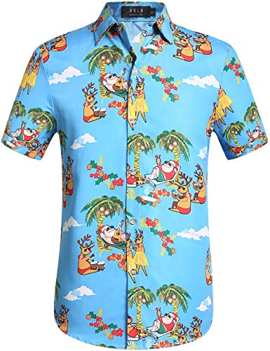 SSLR Men's Xmas Santa Holiday Casual Hawaiian Ugly Christmas Shirts (X-Large, Blue)