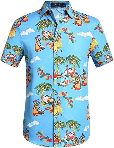 SSLR Men's Xmas Santa Holiday Casual Hawaiian Ugly Christmas Shirts (X-Large, Blue)
