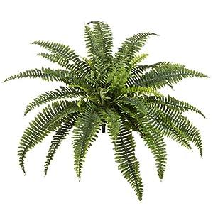 "Silk Flower Arrangements SilksAreForever 26"" UV-Resistant Outdoor Artificial Boston Fern Plant -39 Leaves -Green (Pack of 6)"
