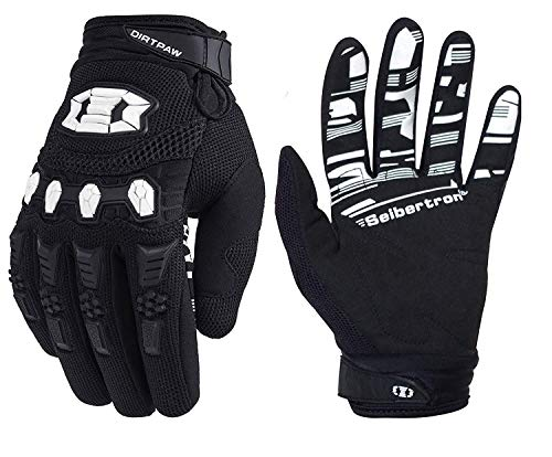 Seibertron Youth Dirtpaw BMX MX ATV MTB Racing Mountain Bike Bicycle Cycling Off-Road/Dirt Bike Gloves Road Racing Motorcycle Motocross Sports Gloves Touch Recognition Full Finger Glove Black L