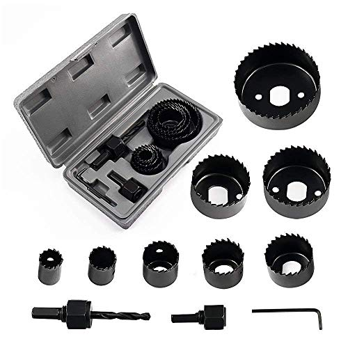 OLEANDER® Power & Hand Tools - Carbon Steel Metal Alloys Wood Hole Saw Cutting Set (19-64mm, Multicolour) - 11 Pieces.