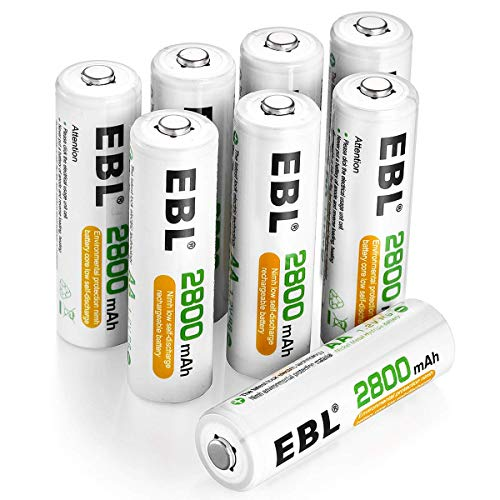 EBL AA Rechargeable Batteries 2800mAh, 8 Pack High Performance 1200 Cycle Ni-MH Batteries