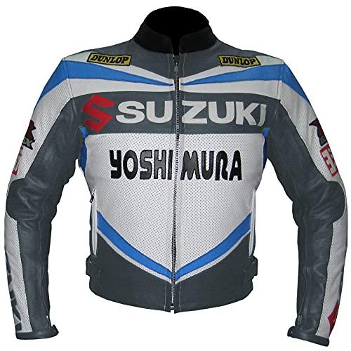 Suzuki 4212 Motorradjacke aus Rindsleder, Grau