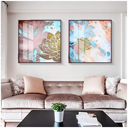 Canvas schilderij poster en afdrukken Moderne muurkunst afbeeldingen abstracte kleur spuiten gouden bloem kamer slaapkamer 40x40 cm/15.7