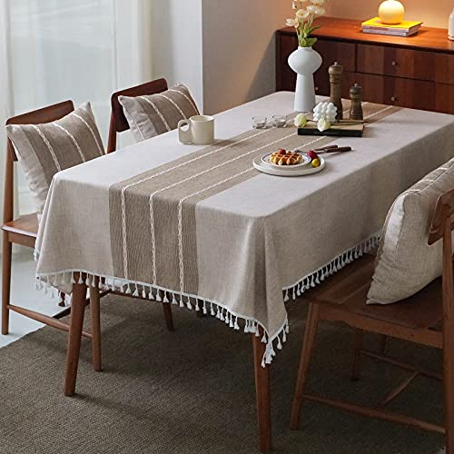 Mokani Washable Cotton Linen Stitching Tassel Design Tablecloth, Rectangle Table Cover Great for Kitchen Dinning Tabletop Buffet Decoration (55 x 86 Inch, Linen)