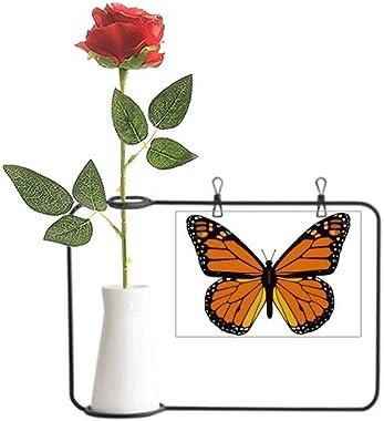 YaoX Butterfly Specimen in Orange Artificial Rose Flower Hanging Vases Decoration Bottle