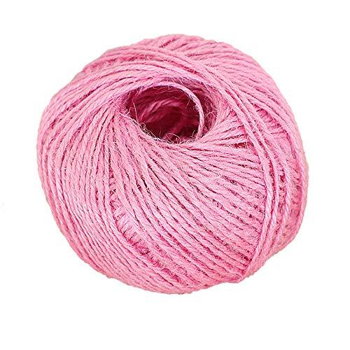 'N/A' Tilo De Yute De Tres Capas, Cuerda Cordal, 2 Mm De Diámetro Y 25 M De Longitud por Rollo, Utilizado para Envasar Hilo De Arte, Fabricación De Artesanías Y Decorac(Color:Rosa)