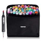 60 Colour Graffiti Pen Set Permanent Marker Set, Twin-Tip Highlighter Graffiti Stife for Sketching...