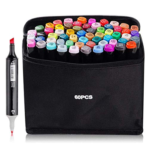 60 Farben Graphic Marker Pen Art Sketch Twin Marker Pen Permanent Graffiti Malstifte zum Zeichnen, Färben und Unterstreichen