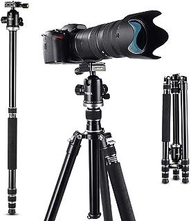 カメラ三脚 Tycka プロ級 アルミ合金三脚 一脚可変式 4段 167cm 12kg耐荷重 360度パノラマ自由雲台 カメラ ビデオカメラ用 TK103