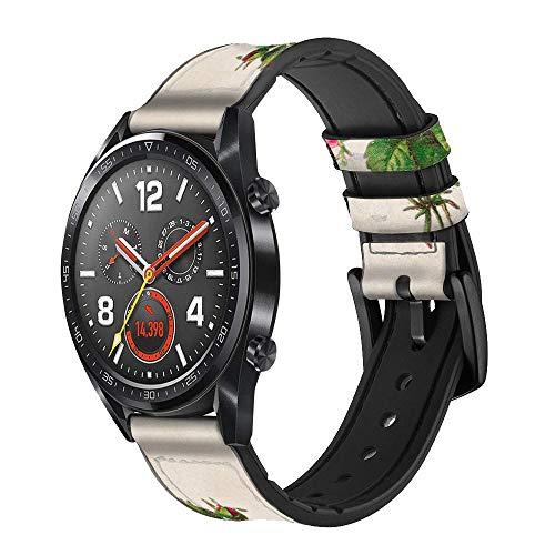 Innovedesire Vintage Pink Rose Correa de Reloj Inteligente de Cuero y Silicona para Wristwatch Smartwatch Smart Watch Tamaño (22mm)