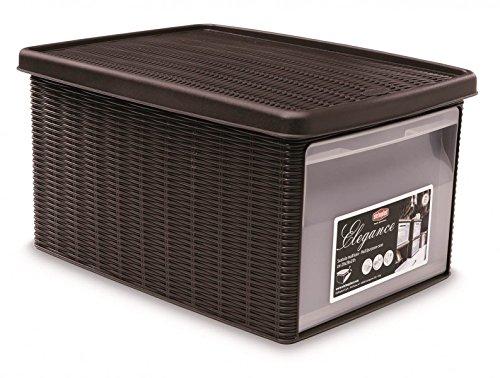 Kreher Aufbewahrungsbox im Rattan Design mit Deckel und Klappdeckel, B 29 x L 39 x H 21 cm, Farbe braun
