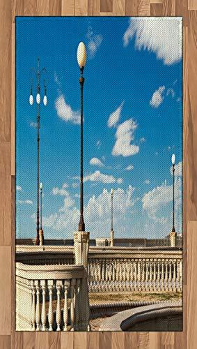 ABAKUHAUS Italienisch Teppich, Mascagni Livorno Straße, Deko-Teppich Digitaldruck, Färben mit langfristigen Halt, 80 x 150 cm, Himmelblau Weiß und Schwarz