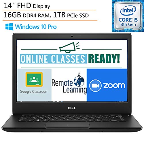 Dell Latitude 3400 14' FHD Business Laptop Computer, Intel Quad-Core i5-8265U up to 3.9GHz (Beat i7-7500U), 16GB DDR4 RAM, 1TB PCIe SSD, Webcam, Windows 10 Pro, iPuzzle Mouse Pad, Online Class Ready