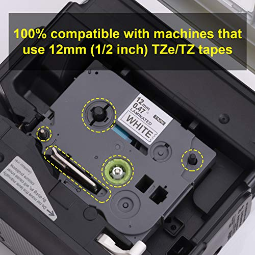 Hehua Compatible 12mm TZe Tape White PTD210, Replace TZe-231 TZe231 Label Tape Brother, for P Touch PTD600 PTD400 PTD200 PT1290 PTH110 PT-1280 Label Maker (Black on White, 0.47 1/2 Inch) Photo #3