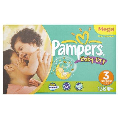 Pampers Windeln Baby Dry Gr.3 Midi 4-9kg Gigapack, 136 Stück