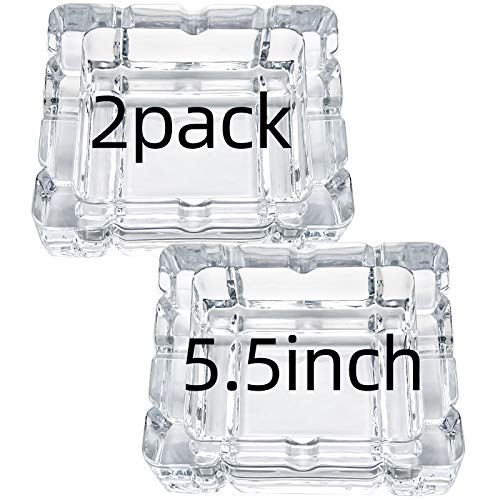 UMEIED Heavy Glass Ashtray, 2 Pack, Square Cigar Ashtray for Home Decor