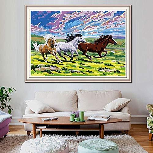 Pintura moderna por números pintura del caballo DIY lienzo cuadro pintado a mano pintura al óleo animales K023-50x40cm...
