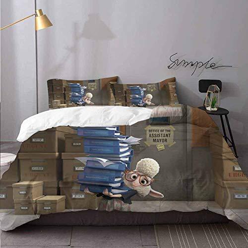 Juego de ropa de cama de Zootopia, funda de edredón y dos fundas de almohada, juego de funda de edredón de 3 piezas, tamaño King