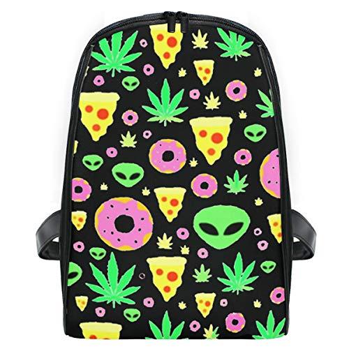 Alien Donut Leaf Weed Pizza Preschool Backpack Daypack School Bag for Boys and Girls