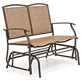 Best Choice Products 2-Person Steel Patio Loveseat Glider Bench Rocker w/Ergonomic Armrests, Brown