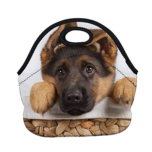 Women Men Kids Thick Insulated Neoprene Lunch Bag with Zipper, School Picnic Travel Work Carrying Gourmet Food Container Organizer Lunchbox Tote (Cute German Shepherd Puppy Dog)