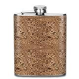 Kleine Lavalampe in Beige und Braun Edelstahl Flasche auslaufsicher 198 ml Flachmann für Alkohol Whiskey Wein Flagon Becher Trinkbecher für Reisen Picknick