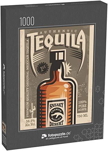 fotopuzzle.de Puzzle 1000 Teile Tequila Werbe-Retro-Poster-Design. Vintage-Illustration mit Tequila-Flasche und einzigartiger Typografie (1000, 200 oder 2000 Teile)