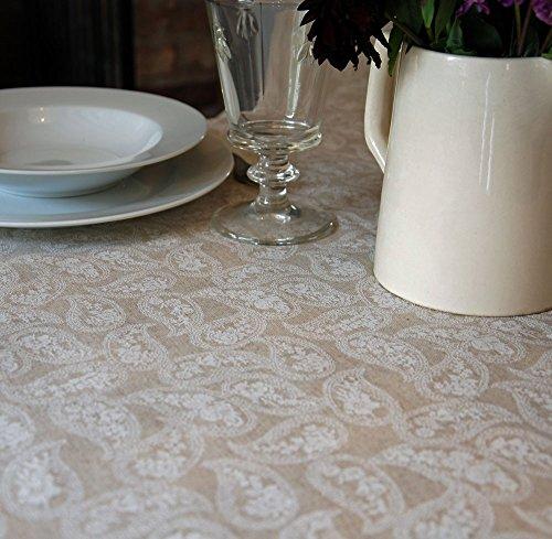 Francés natural pequeña paisley color LINO mantel de hule mesa ...