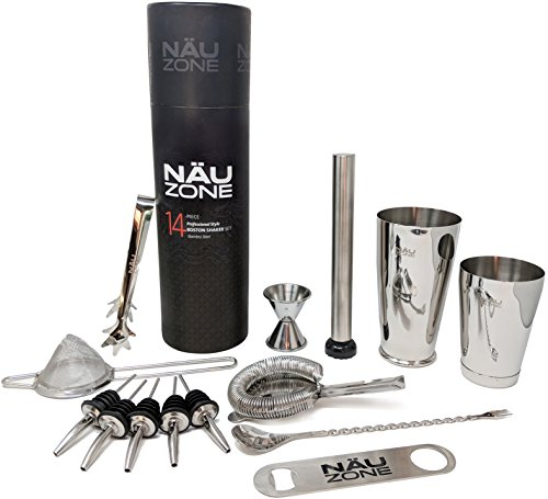Professional Bartender Kit (14-Piece) | Bartending Kit Includes Elegant Stainless Steel Weighted Bottom Cocktail Shakers with Premium Bar Tools and Bar Set Accesssories | Deluxe Packaging