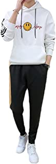 Mogogo Mens Athletic Fit Relaxed-Fit Hooded 2-Piece Slim Fit Joggers Set