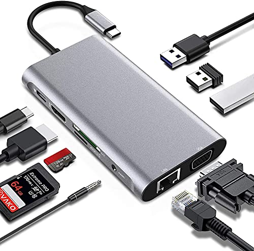 Adaptador USB C Hub 4K HDMI, 10 en 1 Tipo C Estación de Acoplamiento, Puerto Gigabit Ethernet, 3 Puertos USB 3.0, Lector de Tarjetas SD/TF, 65W PD, Compatibles con MacBook Pro, DELL, Chromebook