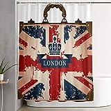 VINISATH Cortinas de Ducha,Maleta de Viaje Vintage con Imagen de Cinta y Corona de Bandera británica de Londres,Cortina de baño Decorativa para baño,bañera 180 x 180 cm
