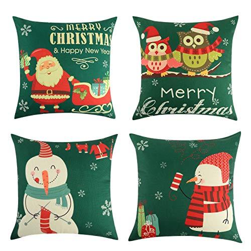 Lewondr [4 PZS Funda de Almohada de Navidad, Juego de 4 Funda Decorativa de Lino Transpirables, Resistentes a Las...