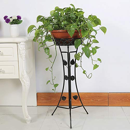 Udfybre Classique Grand Plancher Usine Cadre Art Pot De Fleurs Rack Stand De Fleurs Support De Pot De Pot De Jardin Et Décoration Décoration Pot Rack (Noir, Blanc) (Couleur : Noir, Size : Large)