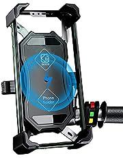 Motorcykel mobiltelefonhållare, 2-i-1 QI trådlös och QC 3.0 USB-laddare motorcykel telefonhållare med 360° vridbar ba hållare justerbar för 100 cm smartphone Samsung/Huawei/Android