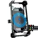 Motorrad Handyhalterung, 2 in 1 QI Drahtloses und QC 3.0 USB-Ladegerät Motorrad Handyhalter mit 360° Drehba Halter Verstellbarer für 4-7 Zoll Smartphone Samsung/Huawei/Android