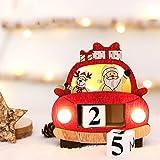 ZGZZ Calendario de Adviento de Navidad 2020 con luz LED, bloques de madera de cuenta atrás número, súper lindo Santa Elk Navidad mesa adorno para casa oficina