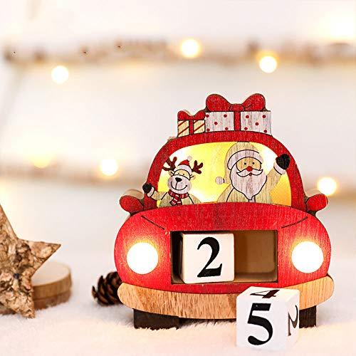 ZGZZ 2020 Weihnachten Adventskalender mit LED-Licht Holz Countdown Blocks Kalender Nummer Super Cute Santa Elch Xmas Tischdekoration für Home Office