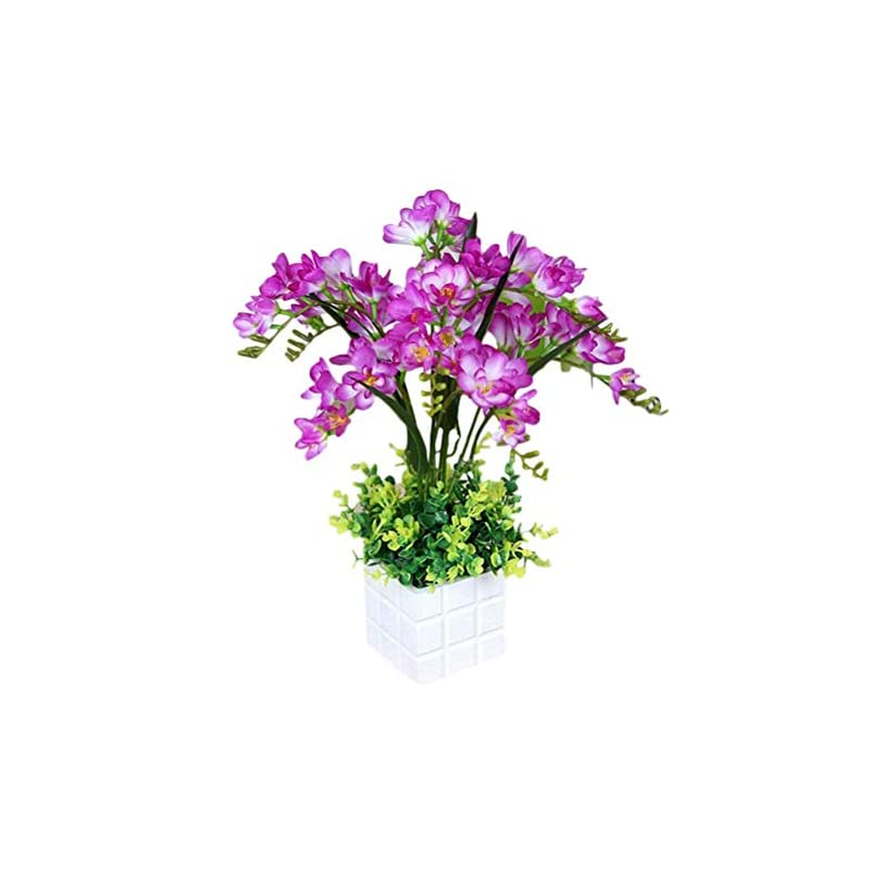 silk flower arrangements maylife artificial flowers freesia creative bonsai plants simulation green suitable for window restaurant living room office indoor garden decor