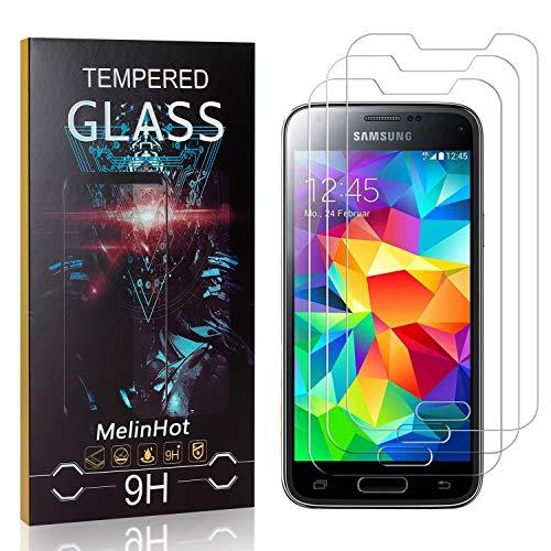 MelinHot Verre Trempé pour Galaxy S5 Mini, 3D Touch Ultra Résistant Protection en Verre Trempé Écran pour Samsung Galaxy S5 Mini, sans Traces de Doigts, 3 Pièces