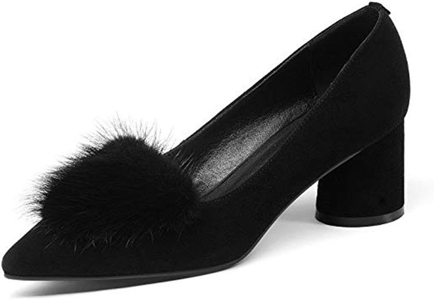 Nine Seven Genuine Leather Women's Pointed Toe Mid Chunky Heel Slip On Handmade Graceful Pump shoes Fur