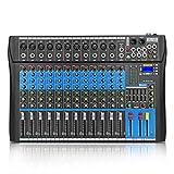 XTUGA ES USB/MP3/Bluetooth Professional DJ Mixer Stage Audio Mixer Built-in Digital Effect Mixer Music Mixer 8/12 Channels Mixer +48Vpower (ES1202) (BLACK)